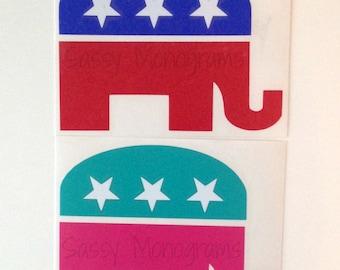 Republican Elephant Vinyl Decal
