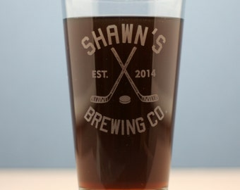 Hockey themed  Brewing Co. HomeBrew Pint single glass.  Home brew, fathers day gift, Beer Glass, Beer Gift, Beer