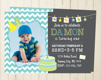 Boy birthday invitation baby boy birthday boy birthday printable invitation 1 year birthday invitation chalkboard