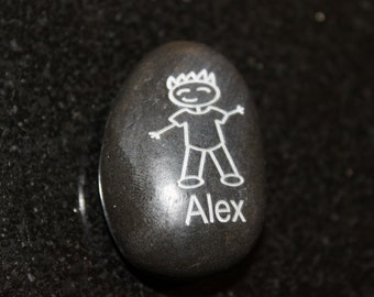 Personalized Stick Figure Boy With Spiked Hair Engraved Stone