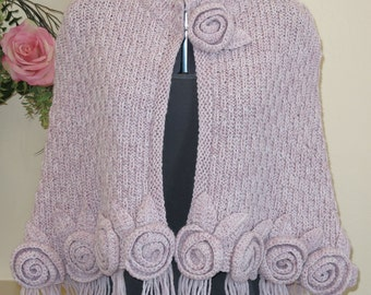 Fringed Crochet Poncho with Roses