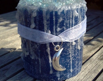 Blue Moon Candle, Blue Moon, Blue Moon Candles, Scented Candle with Crystals, Blue Moon Jewelry, Full Moon Candle, Moonlight, Charm Necklace