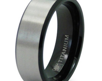 Titanium Ring Size 11 Wedding Band Black Brushed Satin Finish Engraved Personalized Inside Ring Engraving CKL20118R11