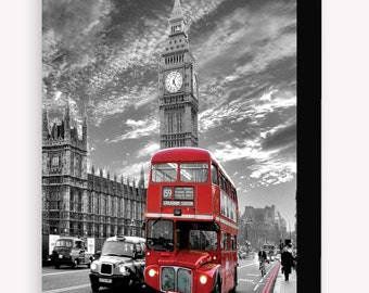 London Red Bus 6 x 4 Inches ( 15 x 10 cm ) Postcard Size Block Mounted Print