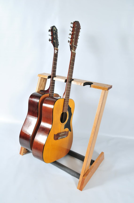 3 space red oak acoustic guitar stand handcrafted from. Black Bedroom Furniture Sets. Home Design Ideas