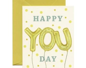 "Foil Balloons Birthday Card - ""Happy YOU Day"" - ID: BIR007"