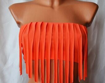 Fringe Bikini Top Spandex Bikini Top Spandex Tube Top Bikini Top Bandeau Fringe Bandeau In Neon Colors Size XS S M L