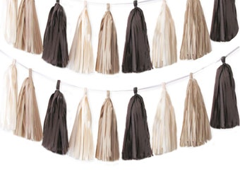 Tissue tassel garland in chocolate brown, ivory, and khaki | Tissue paper tassel | Fall tassel garland | Neutral color garland | Boy's party