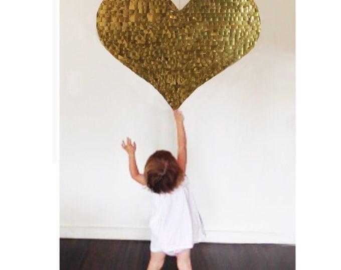 Heart Piñata | Heart Shaped Piñata in Metallic Rose Gold, Gold, or Silver | Wedding Piñata | Baby Shower Piñata | Engagement Piñata