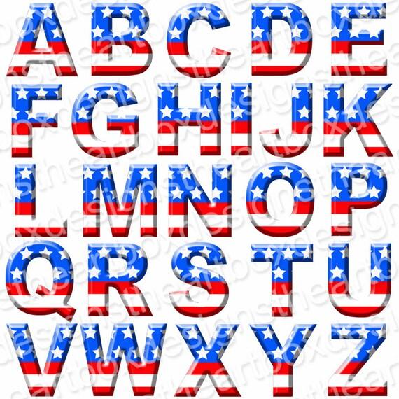 Patriotic Alphabet Clipart Usa Digital Alphabet Red
