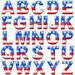 Patriotic Alphabet Clipart, USA Digital Alphabet, Red, White and Blue, 4th of July Clipart, Memorial Day, USA font