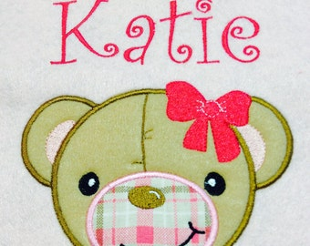 Personalized Girl Baby Blanket Embroidered/ Appliqued
