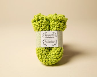 These are 100% cotton, hand knit washcloths that provide gentle exfoliating.