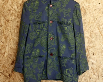 90s blue and green printed chinoiserie jacket asiatic