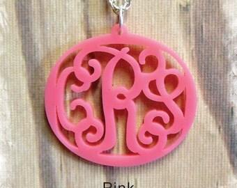 Monogram Necklace - Vine Monogram 3 Initial Name Acrylic Monogram Jewelry , Personalized Custom Pendant