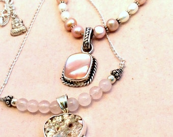 """Petite  18"""" Pink Shell Pendant Necklace. Sterling Silver, Mother of Pearl or Abalone Shell. tiny Buddha amulet.. free US ship 49.00 ea"""