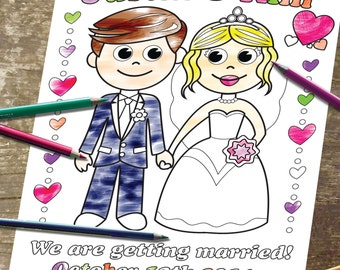 Printable Personalized Coloring Page Digital Wedding Party  Bride Groom Invitation childrens kids activity JPEG file.