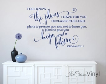 Christian Wall Decal Jeremiah 29 I Know The Plan I Have For You Vinyl Decal for Bedroom Family Room Home Decor Vinyl Lettering