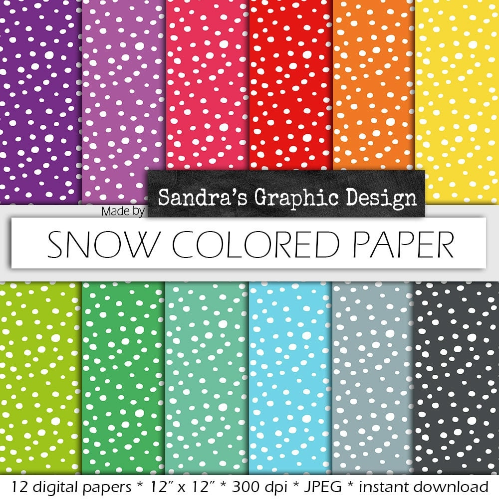 How to design scrapbook using colored paper - Snow Digital Paper Snow Colored Paper With Snow Pattern In Rainbow Colors For Card Making Scrapbooking 626