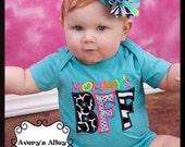 Mommy's BFF - Girls Applique Caribbean Blue Shirt & Matching Hair Bow Set