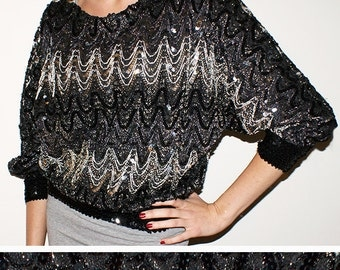 Vintage Sequin Sparkly Black and Silver Zig Zag Batwing Blouse