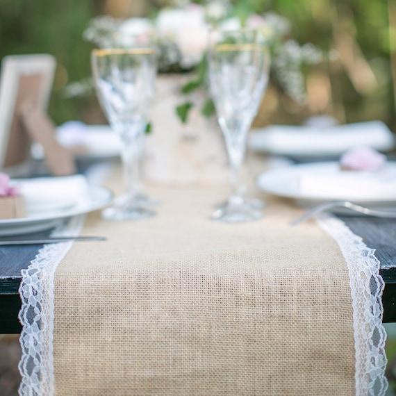 articles similaires chemin de table en jute et dentelle pour mariage au m tre table runner. Black Bedroom Furniture Sets. Home Design Ideas