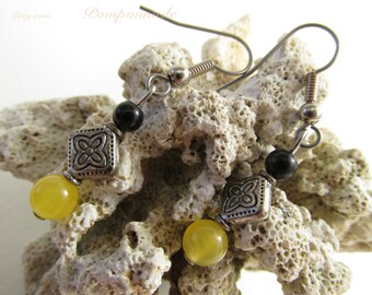 2935 - Earrings Citrine and Agate