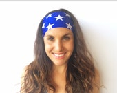 Yoga Running Headband, Americana Headband, 4th of July, Fitness,  Wide Boho Nonslip Headband