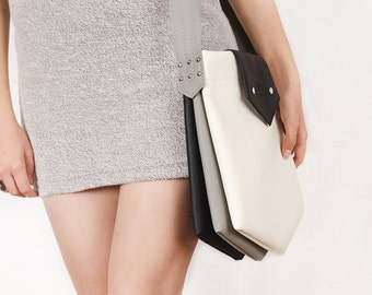 """Shoulder bag """"Inki"""", black and white messenger bag"""