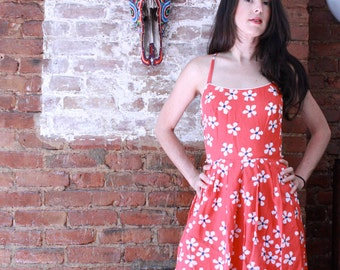 Red Floral Backless Dress ~ Small