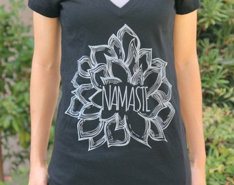 Women's Black V Neck Namaste Shirt - Yoga Tshirt - Yoga Tops - Yoga Clothes - Yoga Shirt - Women's Yoga Clothes - Namaste Shirt - Namaste