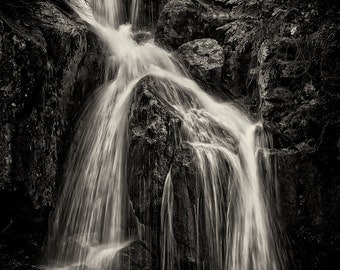 Landscape Photography, Waterfall, Spring, Mount Rainier, Pacific Northwest, Fine Art Black and White Photography, Wall Art, Home Decor