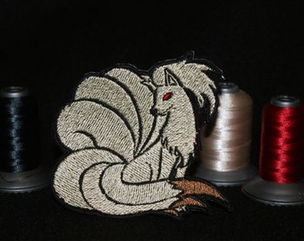 Ninetails - Iron on patch - Shiny Metallic Embroidered.   Pokemon patch.