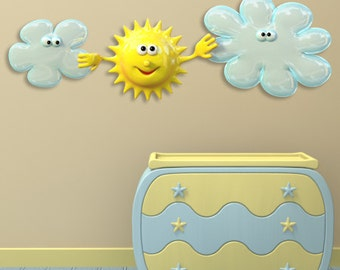 Wall decals sun and clouds A139 - Stickers soleil et nuages A139