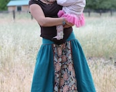Double-sided Maxi Long Skirt from Four Fabrics Wide Pockets two pairs of Strings on the sides