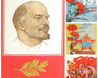 Glory to October, Set of 4  Soviet Postcards, Lenin, October Revolution, Soviet Union Vintage Postcard, USSR, Used Postcards, 1970s