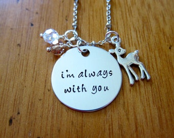 Baby Deer Fawn Necklace. I'm Always With You. Deer Jewelry. Father Daughter Necklace. Mother Daughter Necklace.  Crystals. Love.