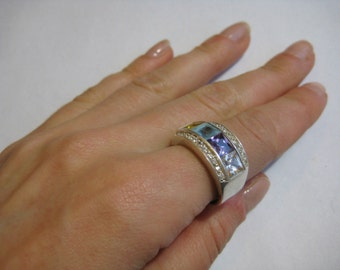 925 sterling silver vintage multicolor CZ Ring, size 8.5