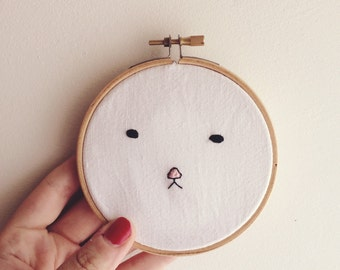 Little Faces - Black - 10cm Embroidery Hoop