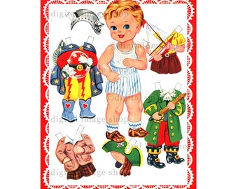 Boy Printable Paper Doll Clipart ~ Instant Digital Download Vintage 1940s Boy Paper Doll & Costumes Digital Graphics PD-04