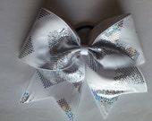 White and Silver Chevron Sparkle Cheer Bow