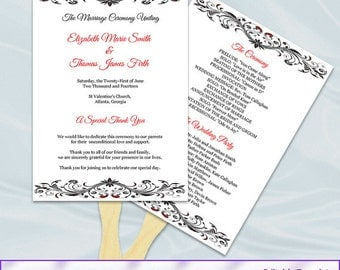 Red Black and White Wedding Program Fan Template, Diy Printable Ceremony Paddle Fan Programs, Editable Text, Instant Download Word Pdf P26