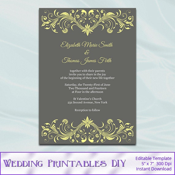 Yellow and Gray Wedding Invitations Templates - Diy Printable Invite ...