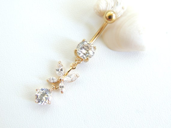 butterfly belly button ring crystal navel by