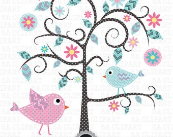 "Tree Clipart ""WEDDING TREE"" clip art,Tree,Love Tree,Save The Date,Birdcages,Love bird,perfect for Wedding invitation, Instant Download Pg007"
