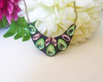 Stunning Pink & Green Faceted Teardrop Pendant Necklace