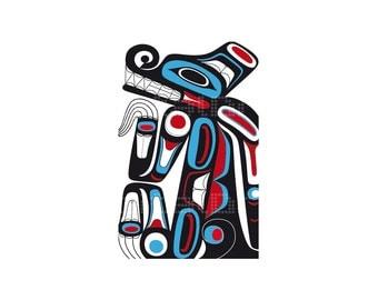 Native Haida designs - Haida Art - Print IIlustration - Wall Art - Digital Illustration - Art Print  - Art