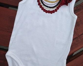 Garnet & Gold Embroidered Baby Bodysuit/Onsie