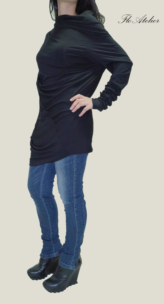 black loose sweater dress asymmetrical tunic by floatelier