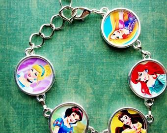 Disney's Princess Bracelet, Disney's Princesses Bracelet- Cinderella bracelet, Snow White Bracelet, Belle Bracelet, Ariel Bracelet, Rapunzel
